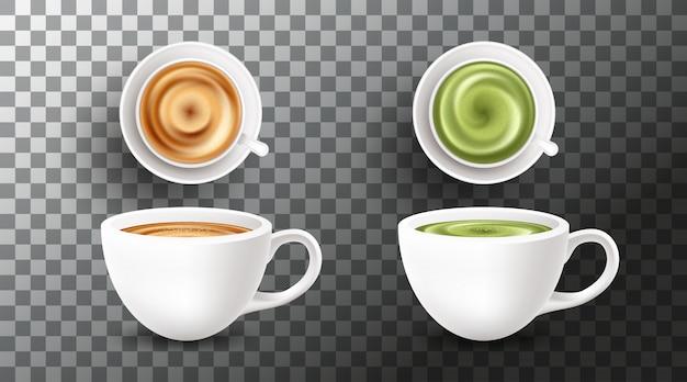 Stellen sie mit verschiedenen arten von kaffeegetränken auf transparentem hintergrund ein