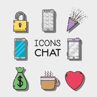 Stellen sie mobile symbole chat-nachricht
