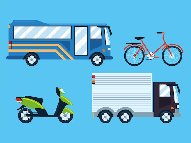 Stellen sie mobilitätsfahrzeuge für den stadtverkehr ein