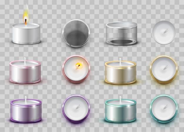 Stellen sie moderne aromatische wachskerze in runden metallbehälter ein
