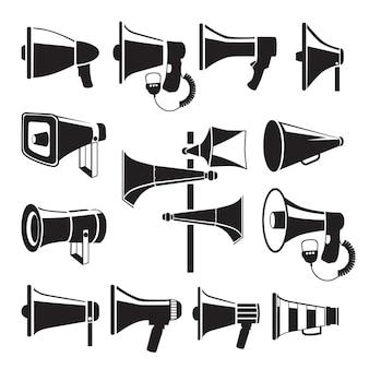 Stellen sie monochrome bilder von megaphonen ein. karikatur flache illustration