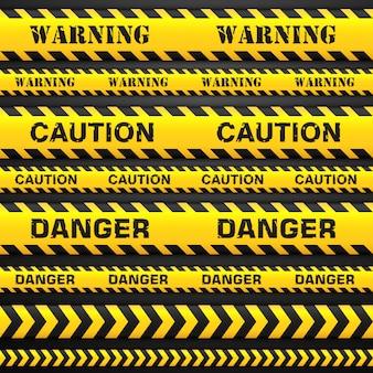 Stellen sie nahtlose bänder ein. zeichen vorsicht, gefahr und warnung. farbband für sperrgebiete oder gefahrenzonen.