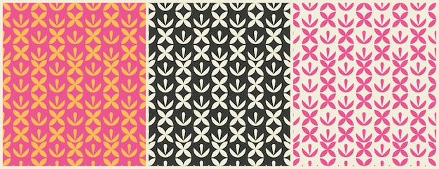 Stellen sie nahtlose geometrische designmuster ein. muster oder hintergrund für geschenkpapier oder paket- und schönheitssalons. einfach verzieren.