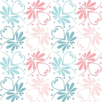 Stellen sie nahtlose süße rosa und blaue griechische blumenmuster endlose textur für tapeten- oder schrottbuchungen ein