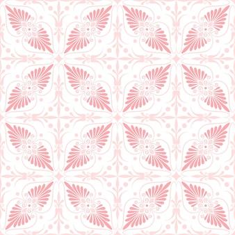 Stellen sie nahtloses süßes rosa und blaues griechisches blumenmuster, endlose textur für tapeten oder schrottbuchungen ein