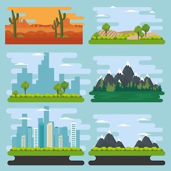 Stellen sie natürliche landschaftsszenen ein