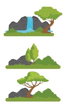 Stellen sie naturschutzgebiet mit fluss und bergen ein