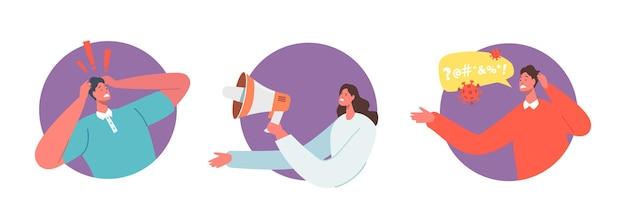 Stellen sie negative nachrichten, panik, katastrophenkonzept ein. gestresster männlicher charakter mit kopf, fernsehmoderator, der schlechte nachrichten von lebensproblemen sendet, frau mit lautsprecher. cartoon-menschen-vektor-illustration