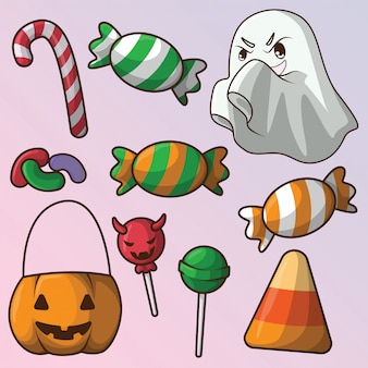 Stellen sie nette halloween-süßigkeiten und -bonbons ein