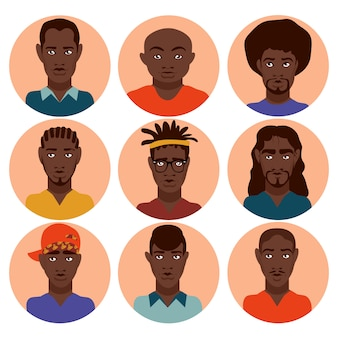 Stellen sie nette, schöne stilvolle afroamerikanermänner mit verschiedenen frisuren, kleidungs-teenager, erwachsene männer, verschiedene berufe ein