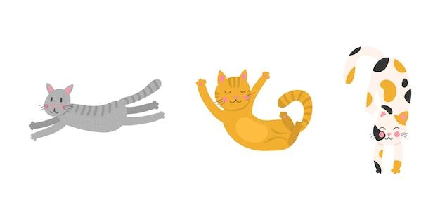 Stellen sie niedliche cartoon lustige katzen ein. kollektion drucke für kinder t-shirts und kleidung. auf weißem hintergrund isoliert.