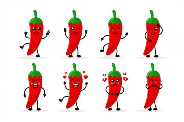 Stellen sie niedliche chili charater illustration ein