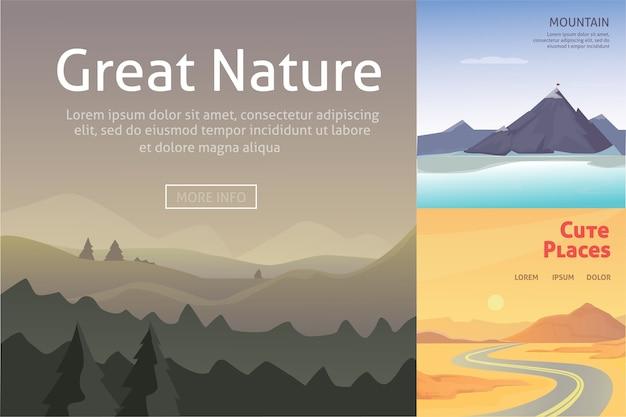 Stellen sie niedliche karikaturlandschaften mit berg ein. sammlung der natur.
