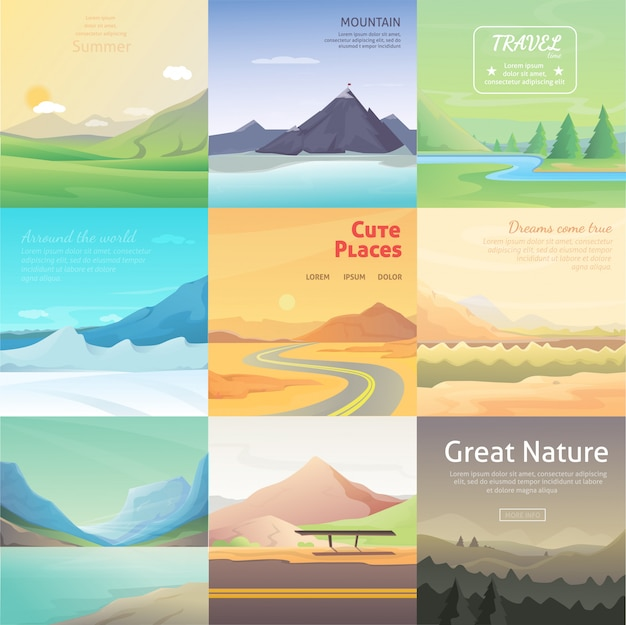Stellen sie niedliche karikaturlandschaften mit berg ein. vektorsammlung der natur