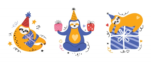 Stellen sie niedliche kawaii faultier auf einer party ein. karikaturbär mit geschenken und anderen feiertagsartikeln. grußkarte oder banner zum geburtstag. flache illustration