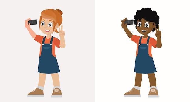 Stellen sie niedliche kleine kindermädchen-pose und selfie vor kamera ein