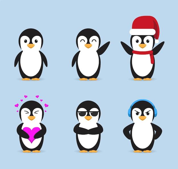 Stellen sie niedliche pinguin-sammlungsillustration ein