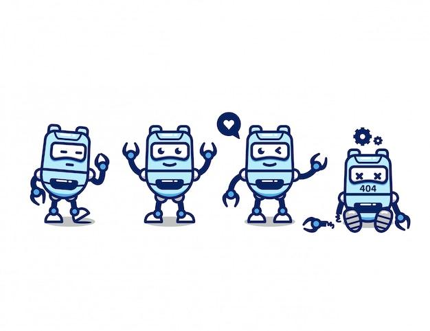 Stellen sie niedliche roboter-ki-charakterkarikaturmaskottchenpose ein
