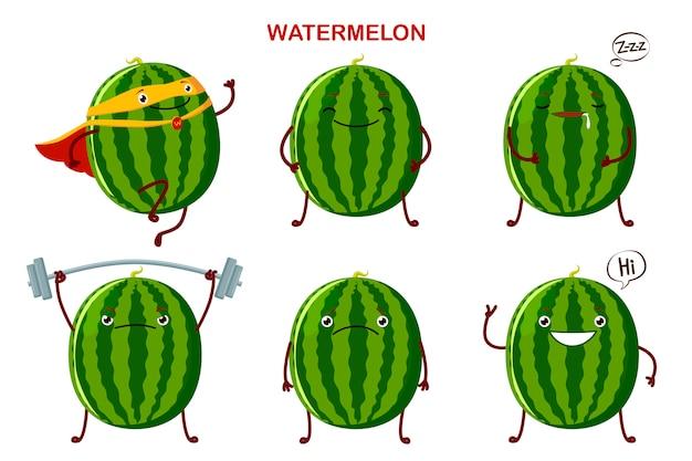 Stellen sie niedliche wassermelonencharaktere ein.