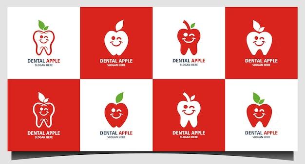 Stellen sie niedlichen zahnarzt-karikatur mit fruchtapfel-logo-designinspiration ein