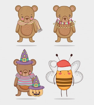 Stellen sie niedliches tier des bären und der biene mit kostüm ein