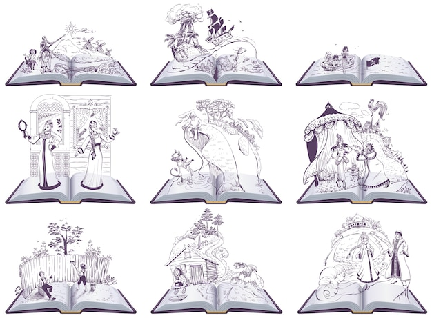 Stellen sie offenes buchmärchenillustration ein. satz bücher zum lesen in der schule. isoliert auf weißer karikaturillustration