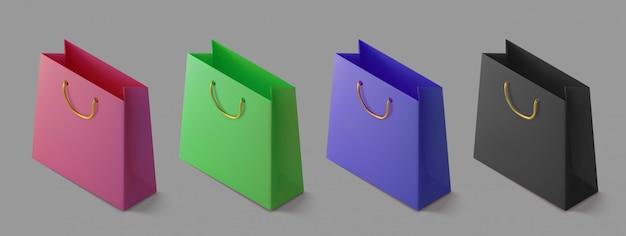 Stellen sie papier realistische bunte einkaufstasche ein. isometrisches paket für einkäufe. handtasche 3d symbol.