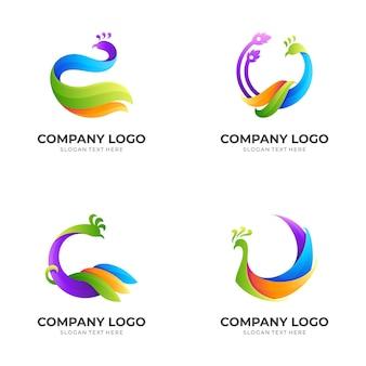 Stellen sie pfau-logo-schablone mit buntem stil ein