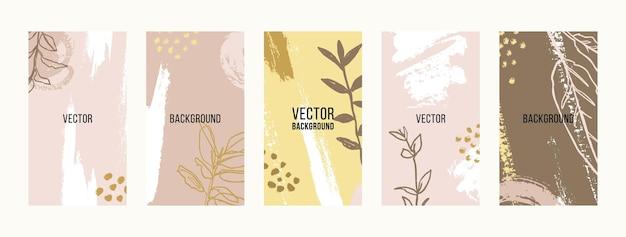 Stellen sie pinselstrich hintergründe mit floralen elementen ein. abstrakte handy-hintergründe in minimalen zeitgenössischen collagen-stilvorlagen für social-media-geschichten. vektor-illustration in pastellfarben
