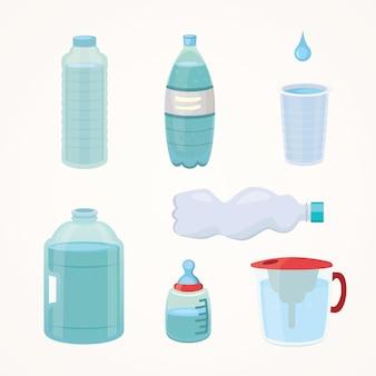 Stellen sie plastikflasche des reinen wassers, verschiedene flaschendesignillustration im karikaturstil ein.