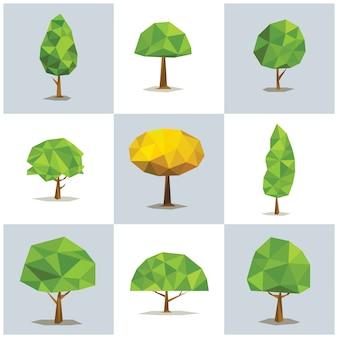 Stellen sie polygonale bäume mit verschiedenen kronen ein. abstrakter baum niedrig poly, vektorillustration.
