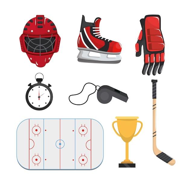 Stellen sie professionelle ausrüstung, um hockey zu spielen