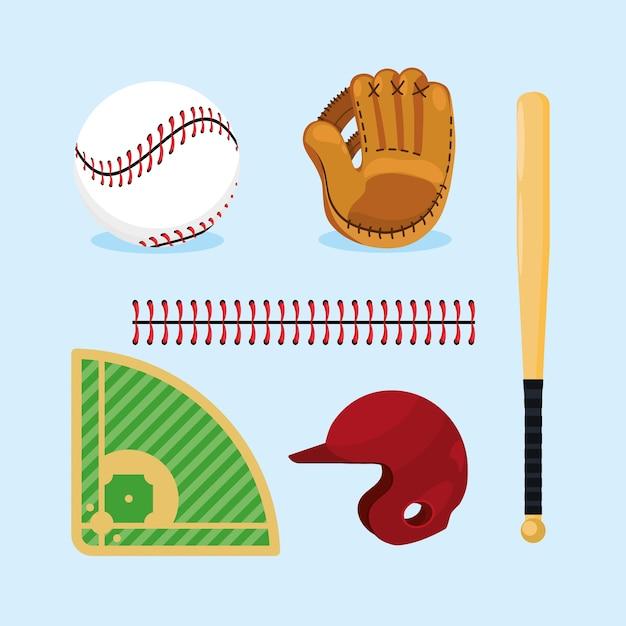 Stellen sie professionelle baseballausrüstung zum spiel ein