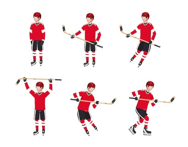 Stellen sie professionellen hockey puck mit uniform und ausrüstung ein