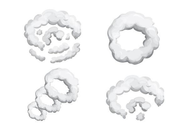 Stellen sie rauchstaubexplosion im cartoon-stil ein. abstraktes graues wolkengasbewegungselement