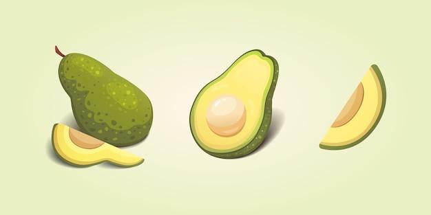 Stellen sie realistische frische avocado-frucht ein. scheiben und ganze avocados. vegane lebensmittelillustration.