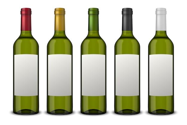 Stellen sie realistische grüne flaschen wein ein