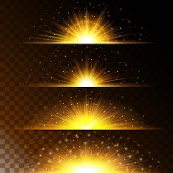 Stellen sie realistische lichteffekte ein. leuchtender stern. licht und glitzer