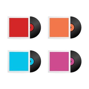 Stellen sie realistische vinylaufzeichnung mit abdeckung ein