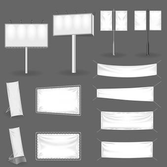 Stellen sie realistische werbetafeln und außenwerbung ein, layoutvorlagenpräsentation