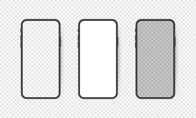 Stellen sie realistischen leeren smartphone-bildschirm, telefon auf transparentem hintergrund ein. vorlage für die benutzeroberfläche für infografiken oder präsentationen.