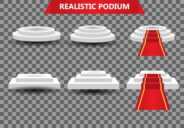 Stellen sie realistischen podiumspreis mit rotem teppich, zeremonienmeisterplattform-illustrationsschablone ein