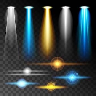 Stellen sie realistisches licht ein, strahlen sie helle blaue blendung der lampen