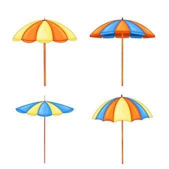 Stellen sie regenschirme für den strand von der sonne in der lokalisierten karikaturart ein