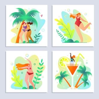 Stellen sie reise und rest auf tropischer insel-karikatur ein.