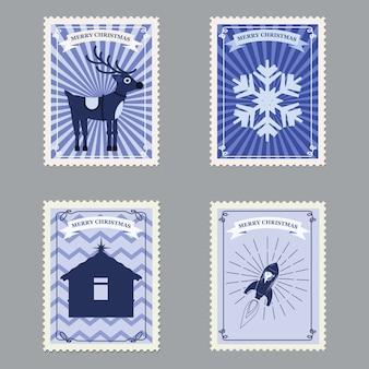 Stellen sie retro- briefmarken der frohen weihnachten mit rakete, rotwild und schneeflocken ein