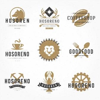 Stellen sie retro- logos der hand gezeichneten art oder typografische elemente der ausweisweinlese ein