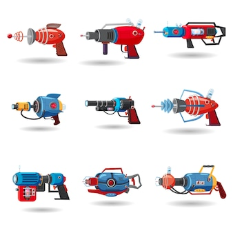 Stellen sie retro- raumblaster der karikatur, strahlgewehr, laserwaffe ein