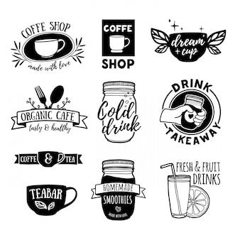 Stellen sie retro-vintage-logos für café, teebar ein. logos mit saft, smoothies und einer tasse tee.