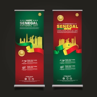 Stellen sie roll-up-banner senegal happy republic day-vorlage mit eleganter bandförmiger flagge ein